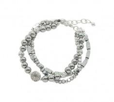 Hematite & Silver Triple Strand Bracelet