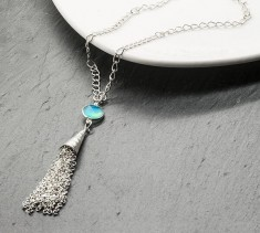 Blue Chalcedony Tassel Necklace