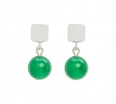 Sterling Silver & Green Agate Earrings