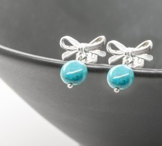 Turquoise & Sterling Silver Bow Stud Earrings
