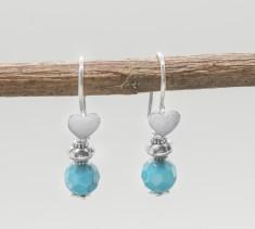Sterling Silver Heart & Turquoise Earrings