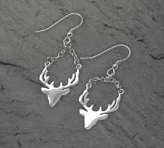 Sterling Silver Stag Head Earrings